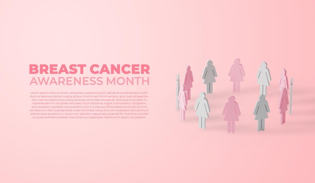 Breast cancer awareness month banner groep vrouwen
