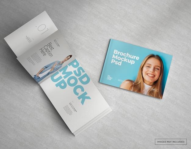 Brede brochure mockup catalogus, tijdschrift en boekje ontwerp
