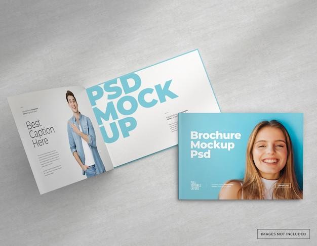 Brede brochure mockup met binnen- en omslagontwerp