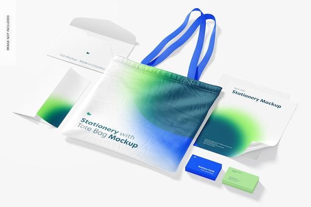 Briefpapier met tote bag-mockup
