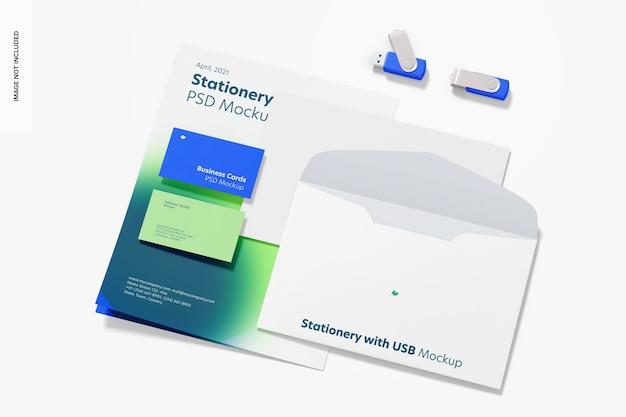 Briefpapier met usb-flashdrives mockup
