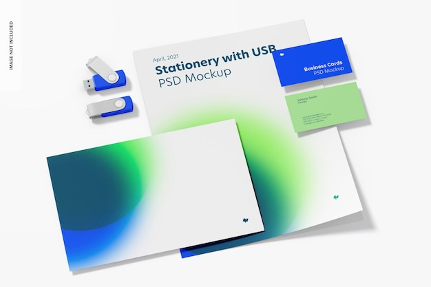 Briefpapier met usb-flashstations mockup, perspectief
