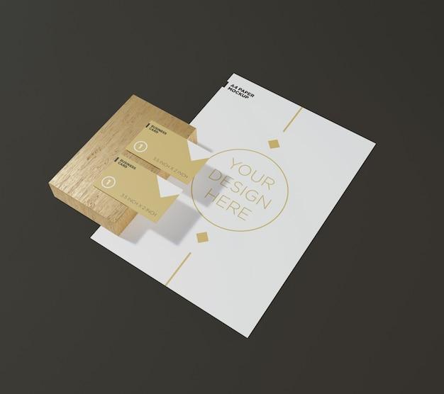 Briefpapier mockup a4-papier en visitekaartje