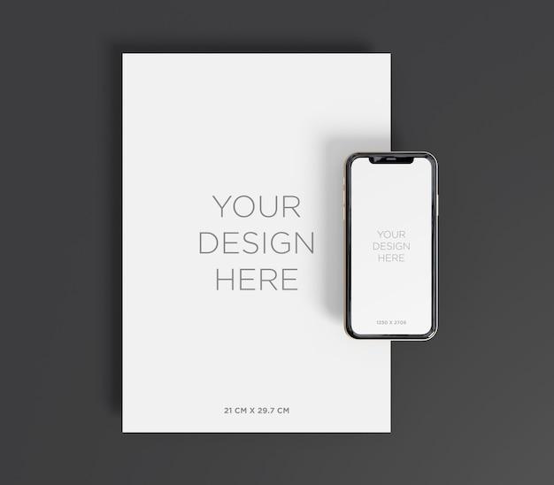 Briefpapier mockup met a4-papier en smartphone bovenaanzicht