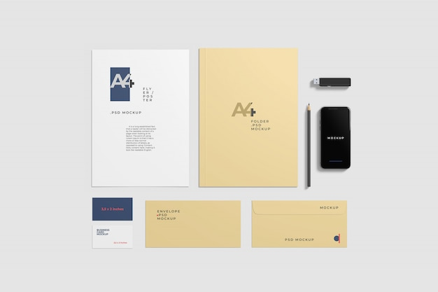 Briefpapier mockup top hoek schot