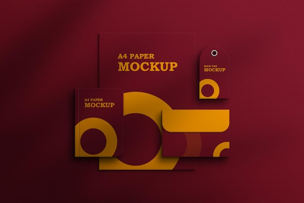 Briefpapier set met kraftpapier mockup premium psd