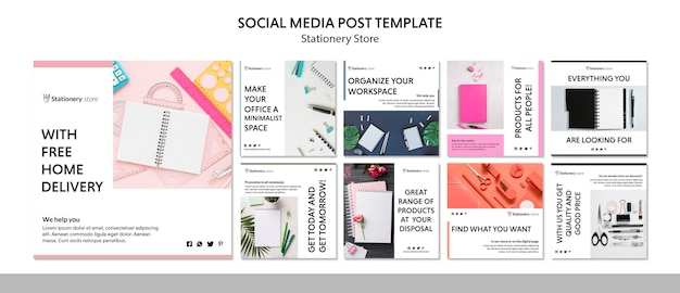Briefpapier winkel social media postsjabloon