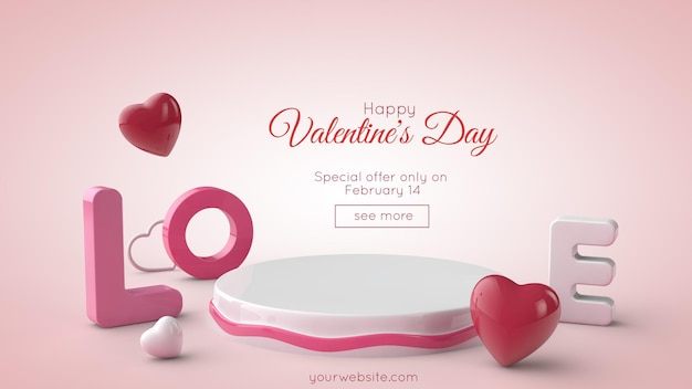 Brieven liefde, hart, voetstuk en vrije ruimte voor tekst. valentijnsdag 3d illustratie