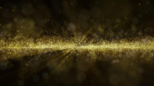 El brillo dorado del polvo dorado brilla con chispas de fondo abstracto para la celebración con haz de luz y brillo en el centro. volar a través de.