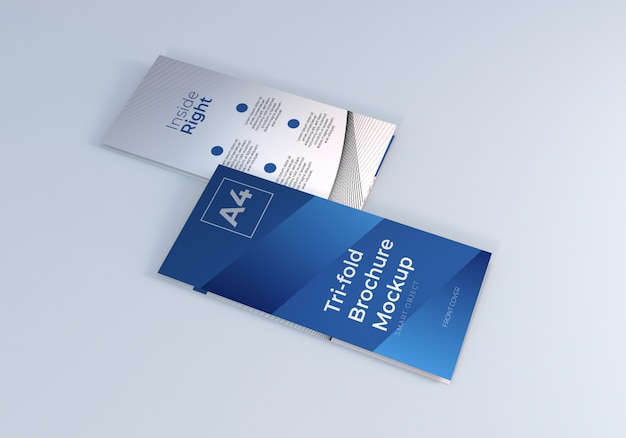 Brochure a tre ante chiusa mockup