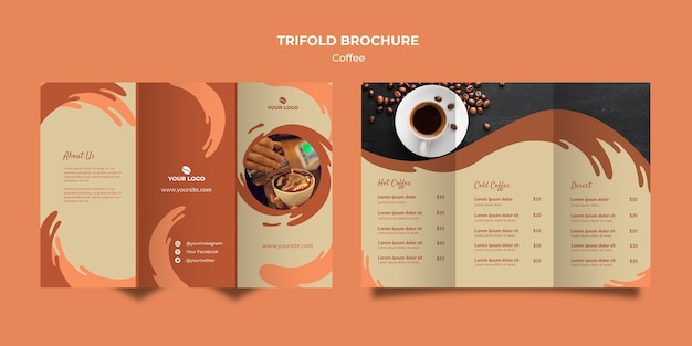 Brochure a tre ante concetto di caffè mock-up