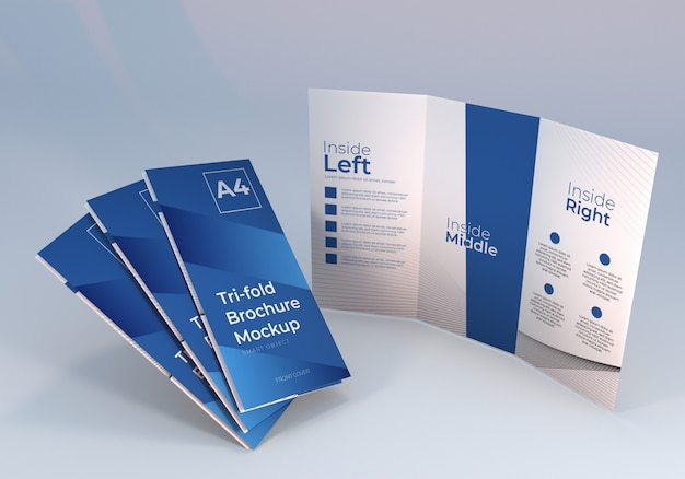 Brochure a tre ante in piedi mockup