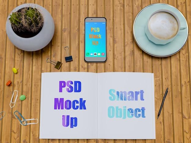 Brochure mockup con smartphone