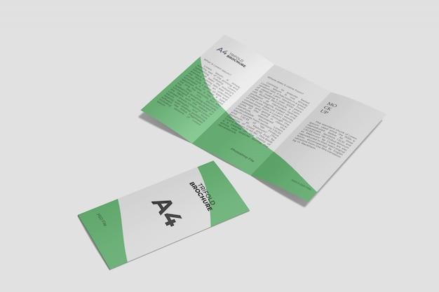 Brochure pieghevole a tre ante a4 mockup