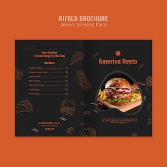 Brochure sjabloon met amerikaans eten