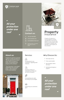Brochure sjabloon voor eigendomsverzekeringen psd met bewerkbare tekst