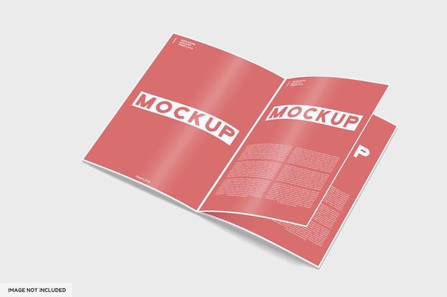 Brochure tijdschrift mockup met perspectief uitzicht