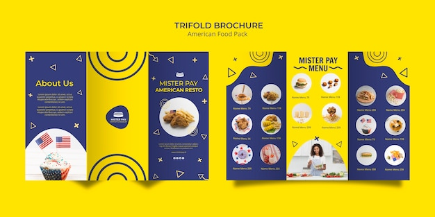 Brochuremalplaatje met amerikaans voedselontwerp