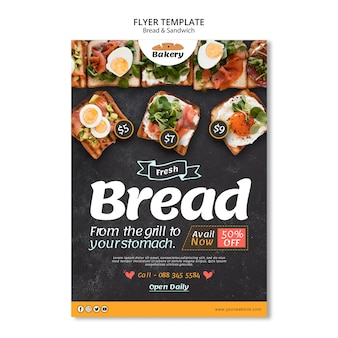 Brood en sandwich flyer-sjabloon