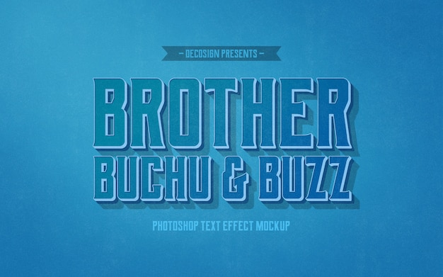 Brother buzz buchu mockup met teksteffect