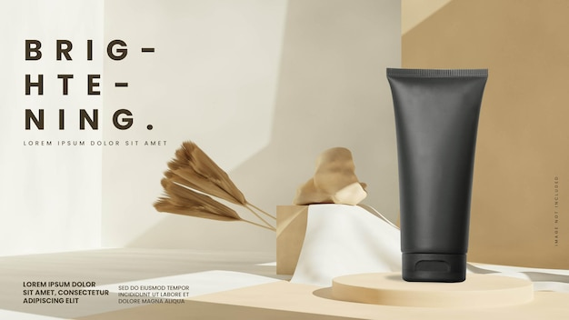 Brown pastel podium product display mockup