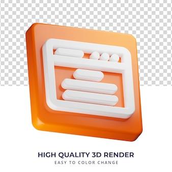 Browserpictogram van hoge kwaliteit 3d-rendering geïsoleerd concept