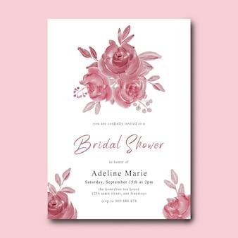 Bruids douche kaartsjabloon met aquarel roze bloemen