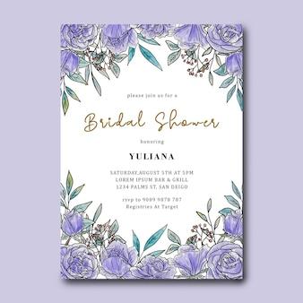 Bruids douche sjabloon met aquarel paarse bloemdecoratie