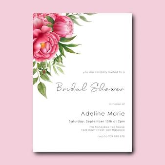 Bruids douchesjabloon met aquarel peony bloemdecoraties