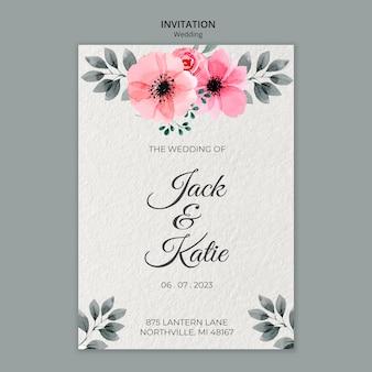 Bruiloft concept uitnodiging sjabloon