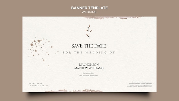 Bruiloft evenement horizontale sjabloon voor spandoek