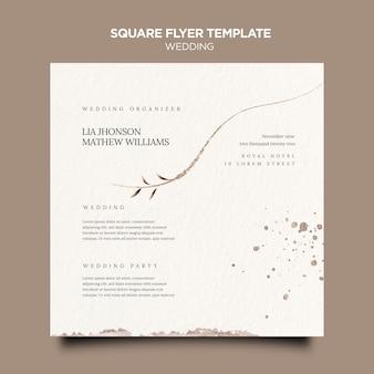 Bruiloft evenement kwadraat flyer sjabloon