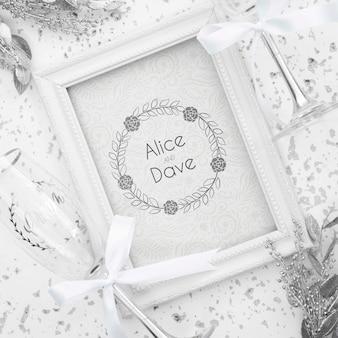 Bruiloft frame op tafel