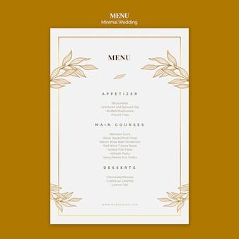 Bruiloft menusjabloon