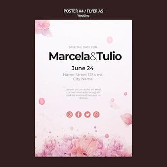 Bruiloft poster sjabloon thema