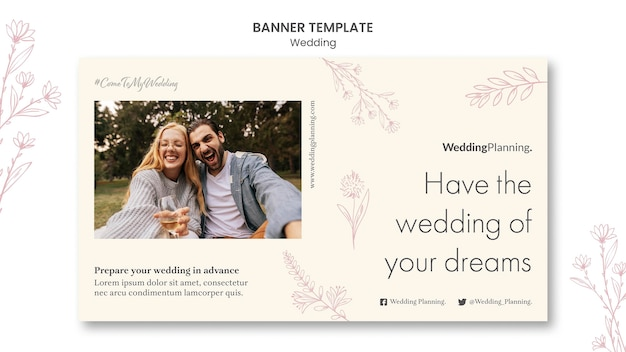 Bruiloft sjabloon voor spandoek Gratis Psd