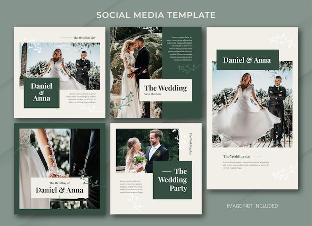 Bruiloft sociale media post bundelsjabloon
