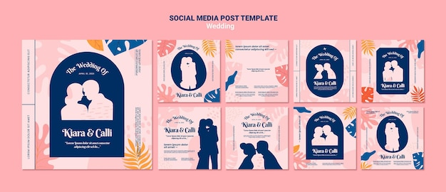 Bruiloft sociale media post-sjabloon Premium Psd
