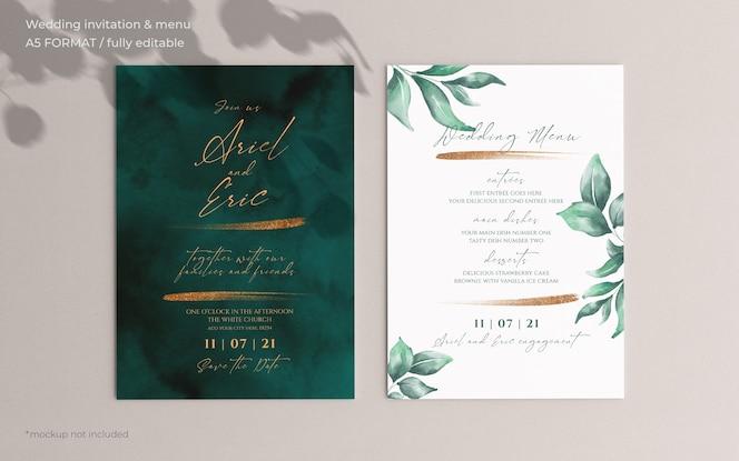 Bruiloft uitnodiging en menusjabloon met prachtige bladeren
