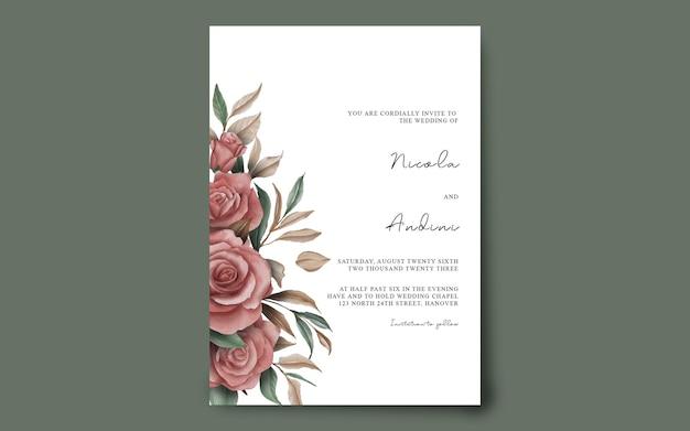 Bruiloft uitnodiging kaartsjabloon met aquarel bloem decoratie