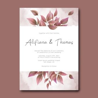 Bruiloft uitnodiging kaartsjabloon met aquarel droge bladeren en aquarel