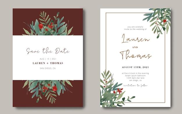 Bruiloft uitnodiging kaartsjabloon met een boeket van aquarel bladeren
