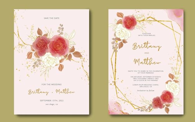 Bruiloft uitnodiging sjabloon met aquarel bloemen en gouden achtergrond