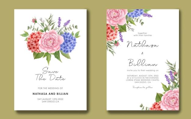 Bruiloft uitnodiging sjabloon met aquarel hortensia's