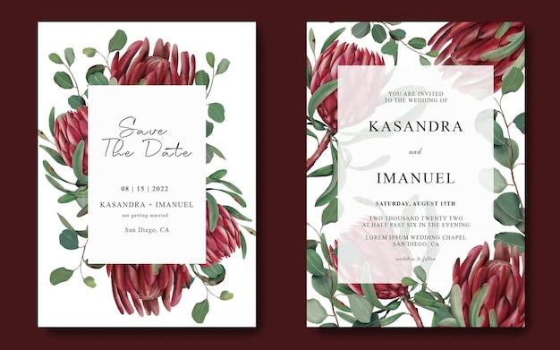 Bruiloft uitnodiging sjabloon met hand getrokken protea bloem frame