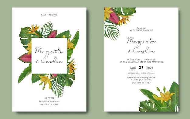 Bruiloft uitnodiging sjabloon met tropische blad frame