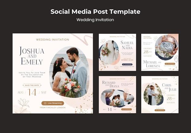 Bruiloft uitnodiging social media post ontwerpsjabloon