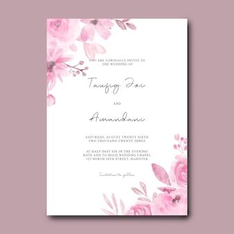 Bruiloft uitnodigingskaart met aquarel roze bloemen Premium Psd