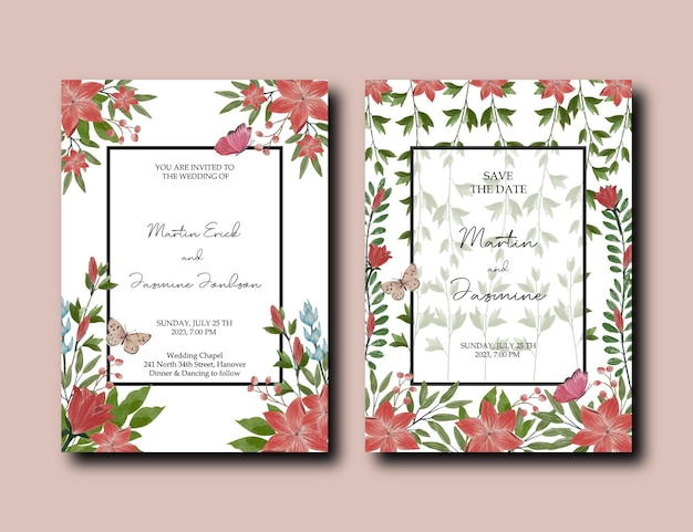 Bruiloft uitnodigingskaart met rode clematis en tulp bloem decoratie set