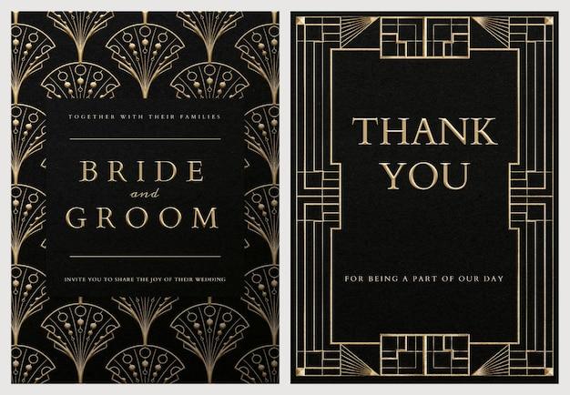 Bruiloft uitnodigingskaart psd set sjabloon met geometrische art decostijl op donkere achtergrond